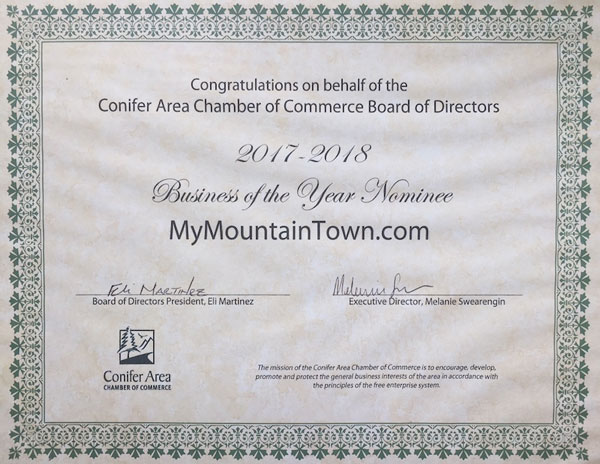 Conifer Area Chamber Award