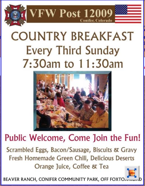 Conifer VFW Breakfast every 3rd Sunday