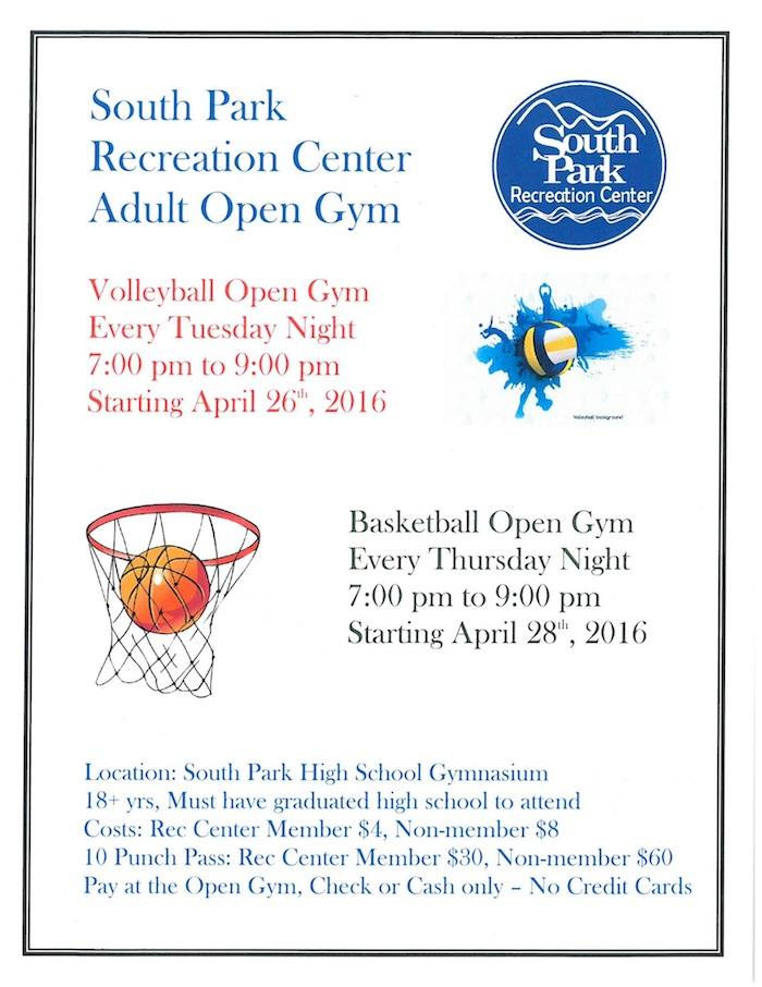 South Park Recreation Center Adult Open Gym Park County Colorado sports