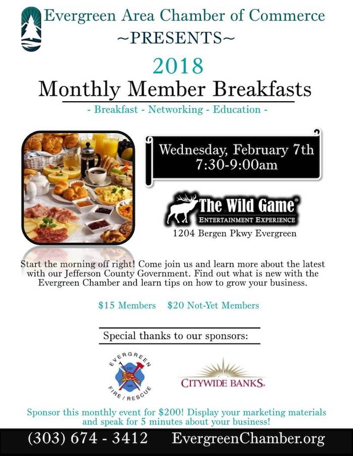 Evergreen Chamber of Commerce Monthly Member Breakfast February 2018
