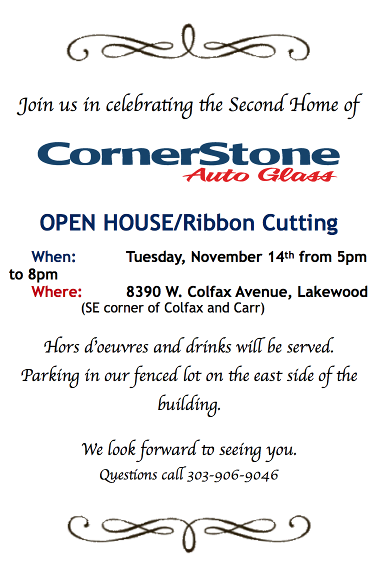 Cornerstone Auto Glass Open House Ribbon Cutting flyer November 2017