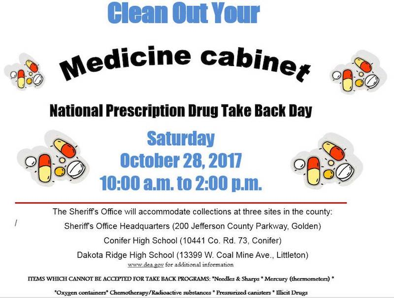 Jeffco Sheriff National Rx Drug Take Back Day Oct 28 At Conifer
