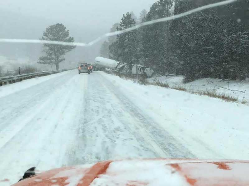 Hwy 285 closed south of Bailey (~MM219) car vs semi  - My Mountain