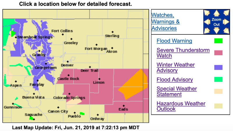 Winter Weather Advisory for Clear Creek, Summit, & Park
